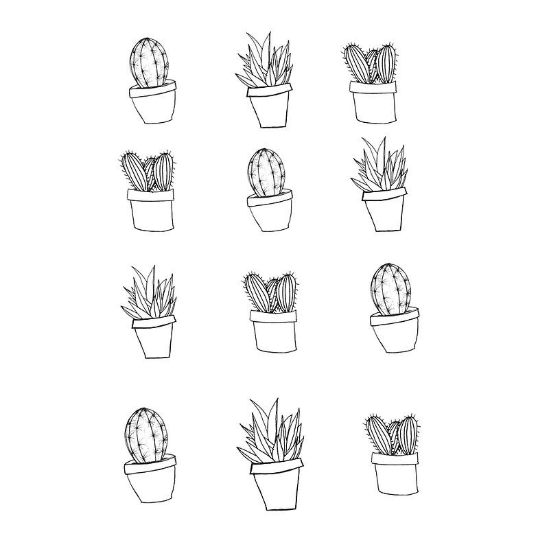 Drawn cactus black and white Hand Drawn Minimal Cactus Print