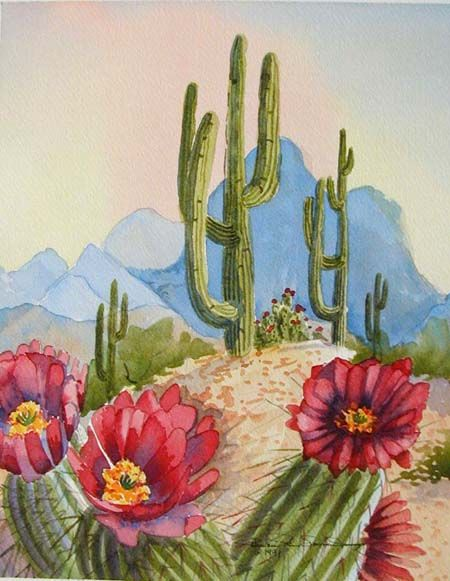 Drawn cactus desert landscape Pinterest · WallsDesert Desert PaintingPainting