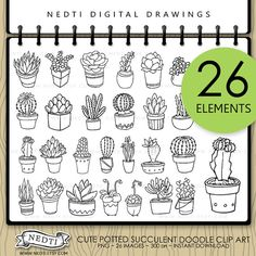 Drawn cactus overlays PNG Printable Succulent DIGITAL Doodle