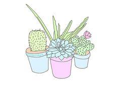 Drawn cactus overlays Art Print plants Imagen cactus