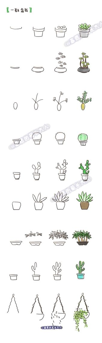 Drawn pot plant weed line Cactus ideas Más art Doodle