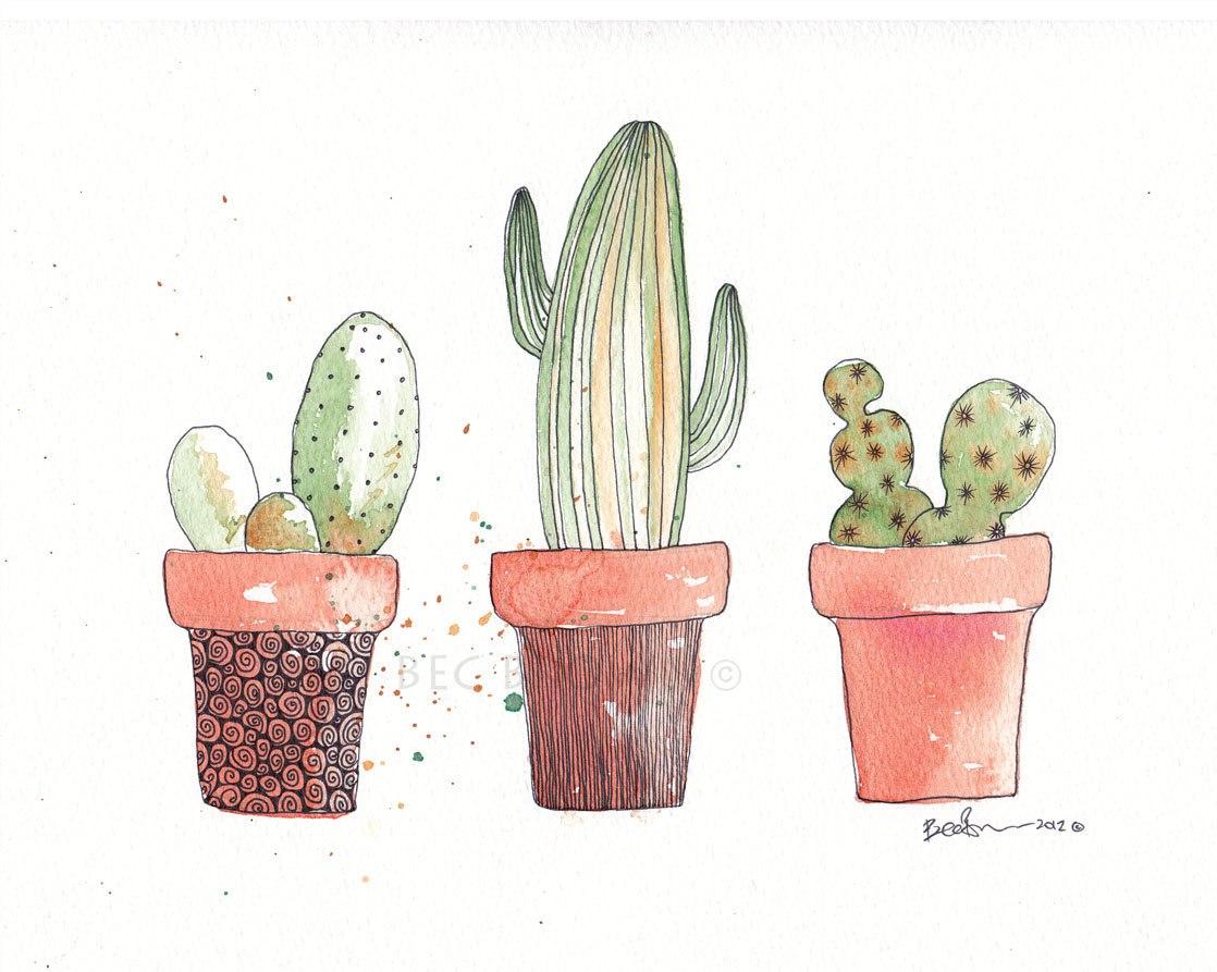 Drawn pot plant spliff CloudsofColourShop Watercolor best cactus Art
