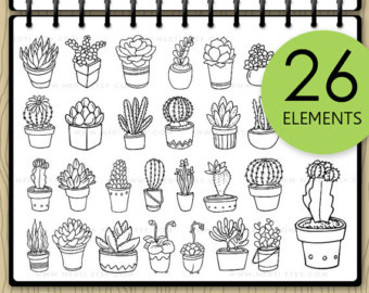 Drawn cactus small Digital Clipart Hand Potted Drawn