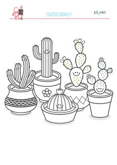 Drawn cactus small La Cacti famille succulents and