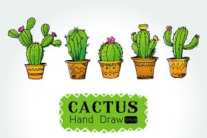 Drawn cactus small Collection of Patterns on Succulent