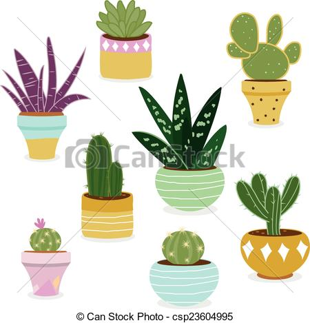 Drawn pot plant weed line Succulent set Vectors plants A
