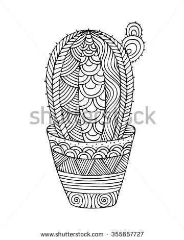 Drawn pot plant leaf background Doodle pots picture coloring hand
