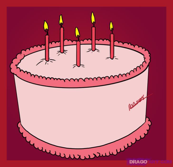 Drawn cake Cake birthday Step Food a