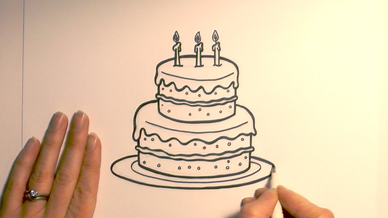 Drawn hunting Cake Birthday Cartoon Draw a