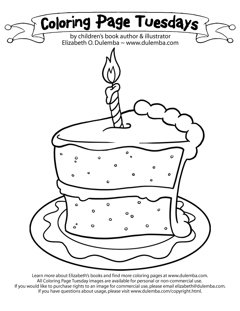 Drawn cake big Coloring Tuesday dulemba: Page Tuesday