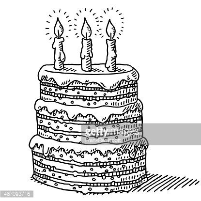 Drawn cake big Three On With drawn Three