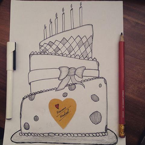 Drawn cake pencil drawing Haroon videos Instagram #birthday #cake
