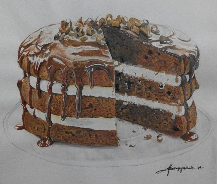 Drawn cake realistic With and with up sprinkled