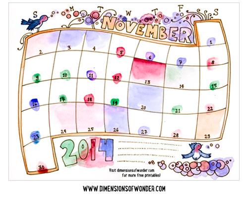 Drawn calendar 2014 Drawn drawn Monthly November