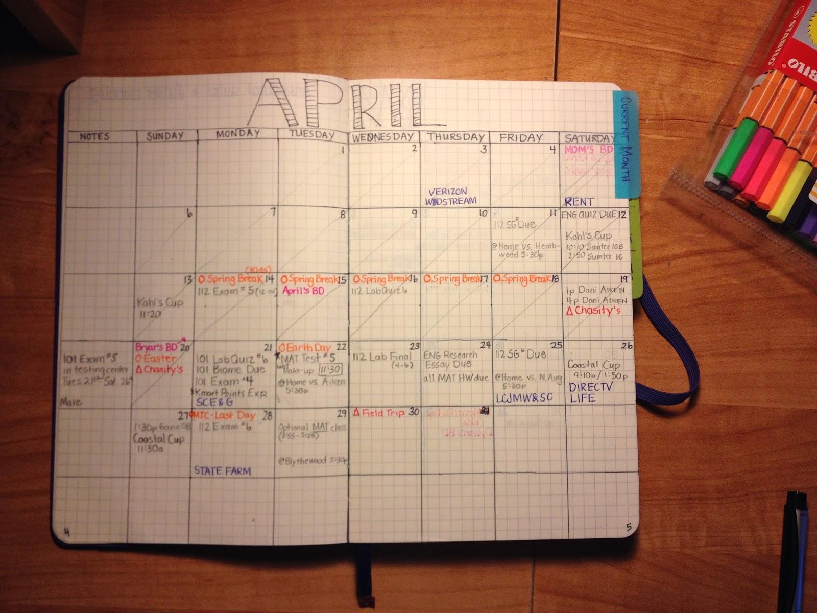 Drawn calendar composition journal #10