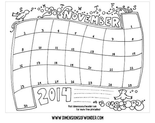 Drawn calendar November {Hand hand Printable Calendar