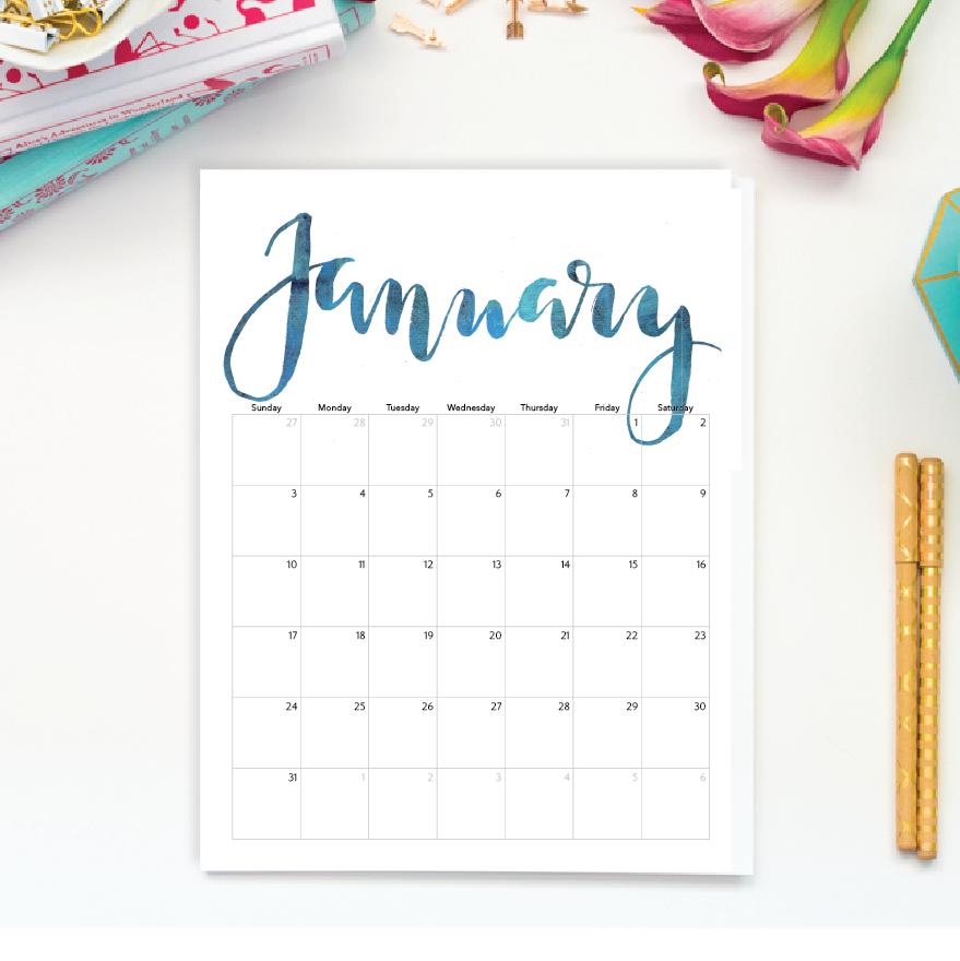 Drawn calendar printable #4