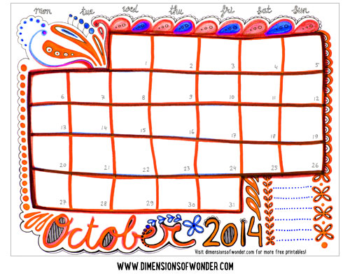 Drawn calendar printable #10