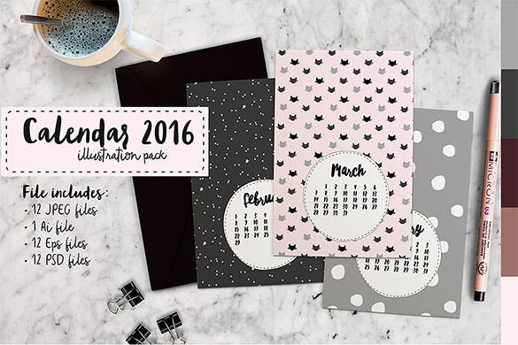 Drawn calendar printable #11