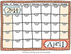 Drawn calendar printable #1