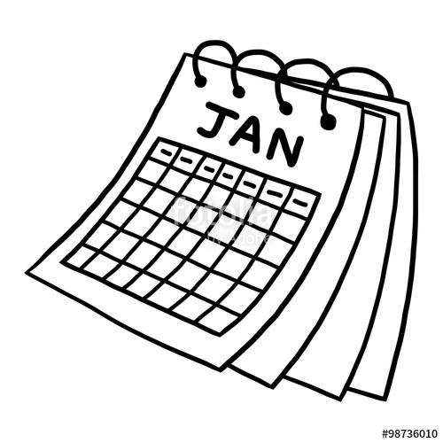Drawn calendar On vector image background white