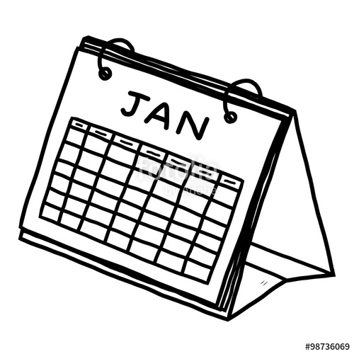 Drawn calendar January illustration cartoon and and