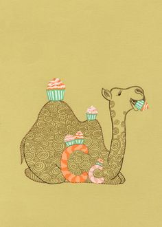 Drawn camel children's Cupcakes camel CAMELS wall decor