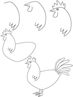 Drawn rooster chicken How How Figures Easy draw