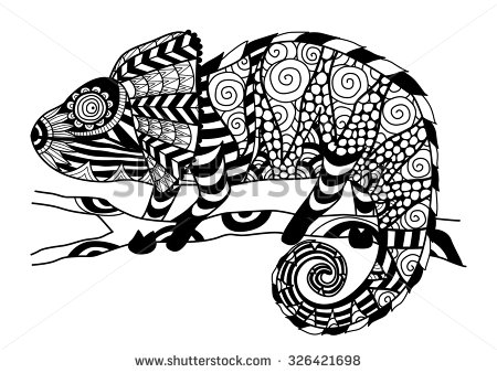 Drawn cameleon Effect coloring for for coloring