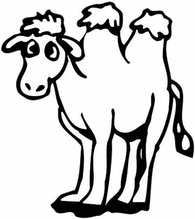 Camel clipart coloring For kids pages Camel in