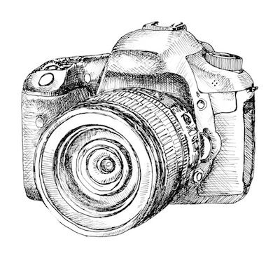 Drawn camera Sketchbooks DSLR and hatching drawn