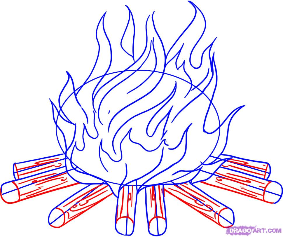 Drawn camp fire Step to How Pop Step