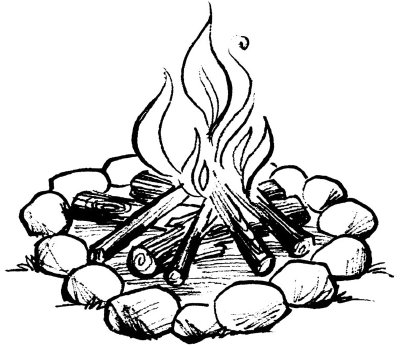 Drawn camp fire Camping Activities Kids for