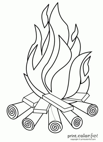 Drawn camp fire fireplace 25+ Color crafts printables Pinterest