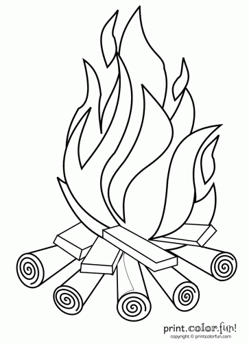 Drawn campfire  pages coloring Free printables