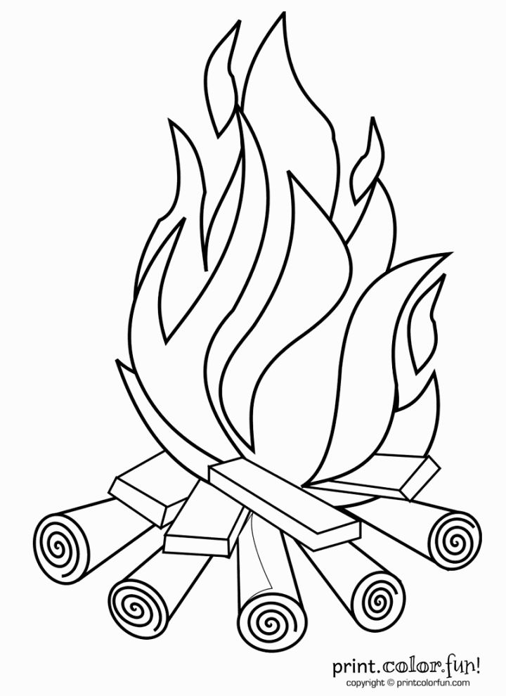 Campire clipart colored Coloring coloring  Print Campfire