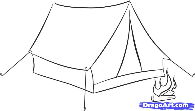 Drawn campire tent Draw How to how tent
