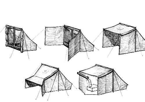 Drawn campire tent Shelters Unconventional tent campfire drawing