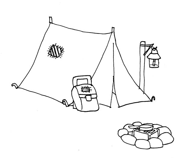 Drawn campire tent Coloring Download coloring Tent drawings