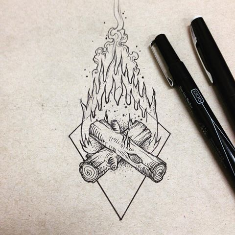 Drawn camp fire @leatheranderson fire #pen #wood tattoo