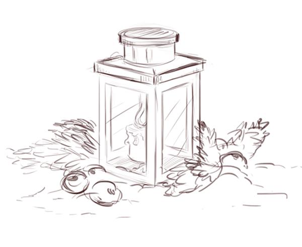 Drawn candle candle lantern #7