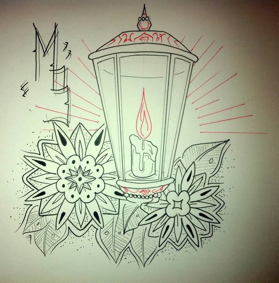 Drawn candle candle lantern #6