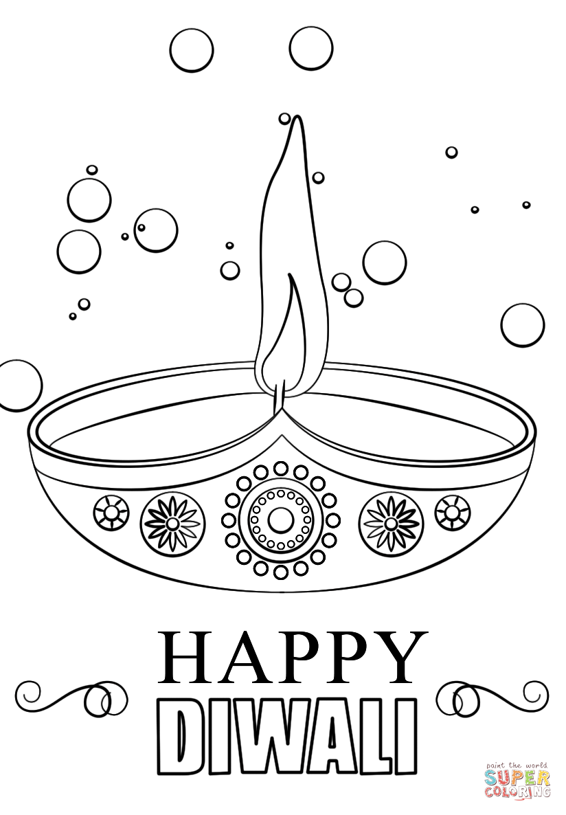 Drawn candle coloring page Free Diwali version view printable