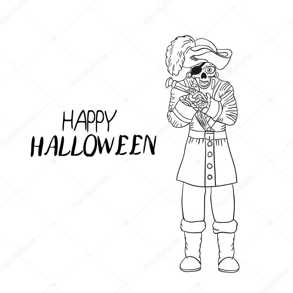 Drawn candle halloween skeleton Sketch Hand Halloween design Halloween