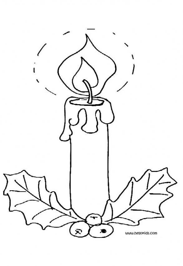 Drawn candle lighted Holly and coloring candle Hellokids
