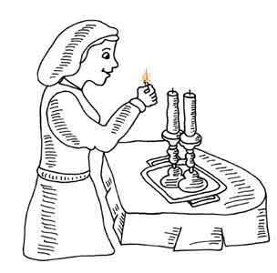 Drawn candle lighted Site About Shabbat  for