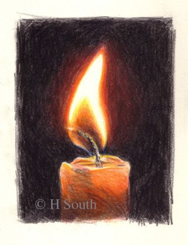 Drawn candle lighted Draw Fire Flames and