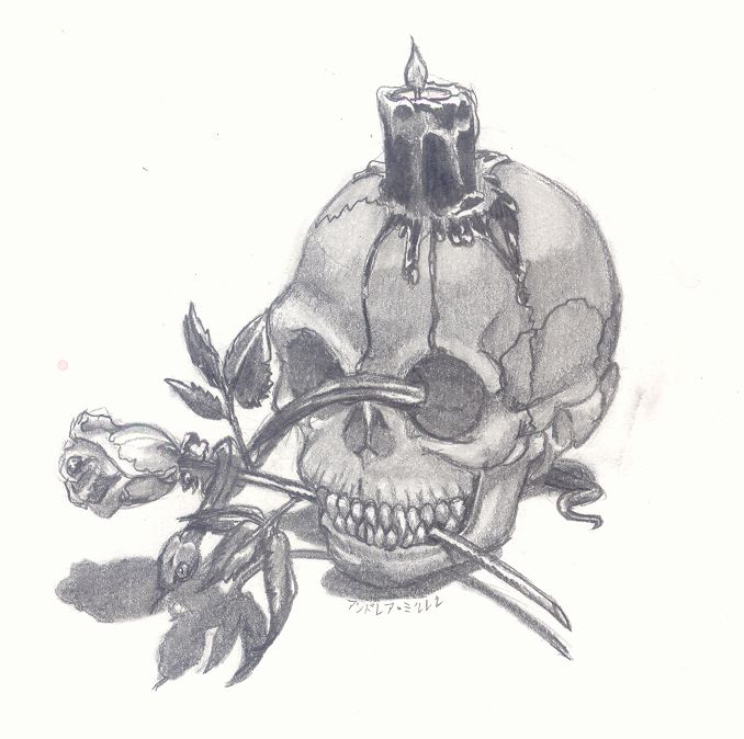 Drawn skull candle About cool+rose+drawings Skull with darkness