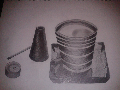 Drawn candle tonal And by of holder Tonal