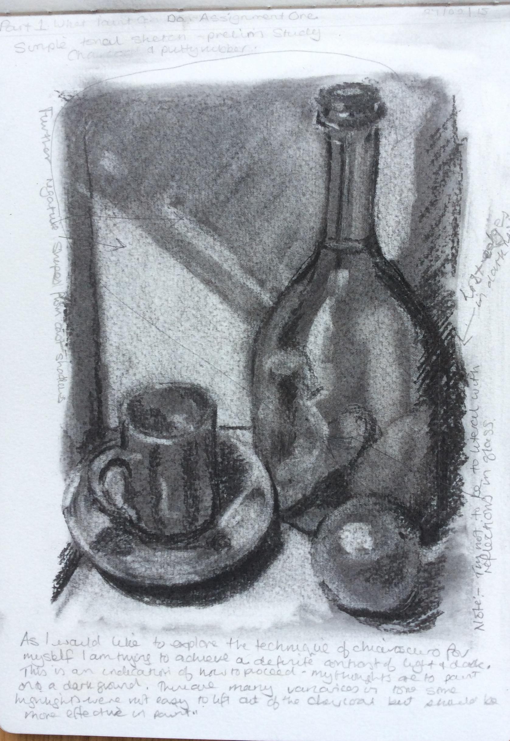 Drawn candle tonal In in 1 drawing chiaroscuro